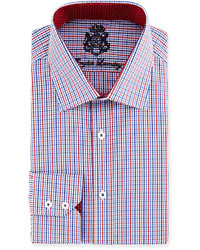 English Laundry Tattersall Check Woven Dress Shirt Navyred