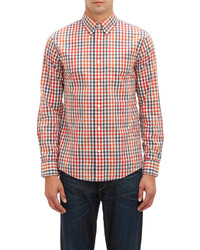 White and Red and Navy Gingham Long Sleeve Shirt