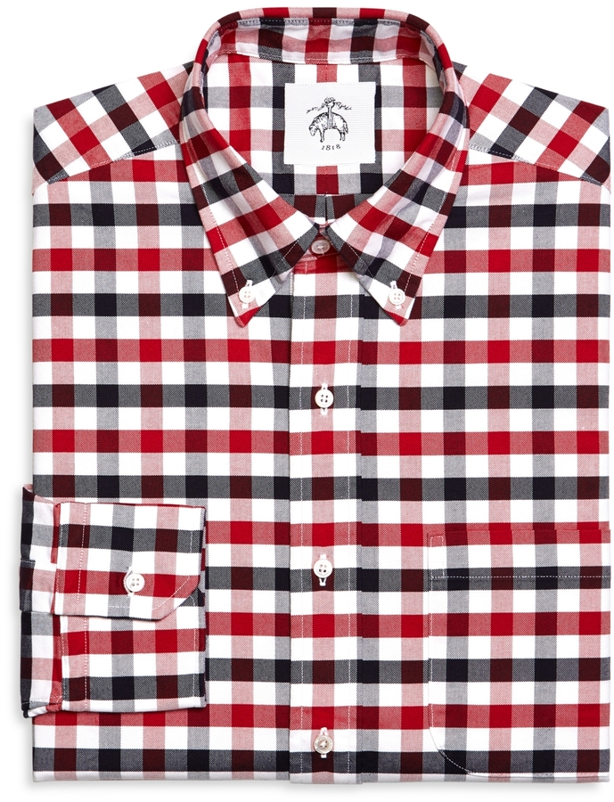 Brooks brothers gingham oxford button down shirt where for Red and white button down shirt