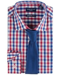 Nick Dunn Modern Fit Patterned Easy Care Spread Collar Dress Shirt Tie Set