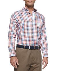 Peter Millar Poplin Check Sport Shirt Orange Blue Red Multi