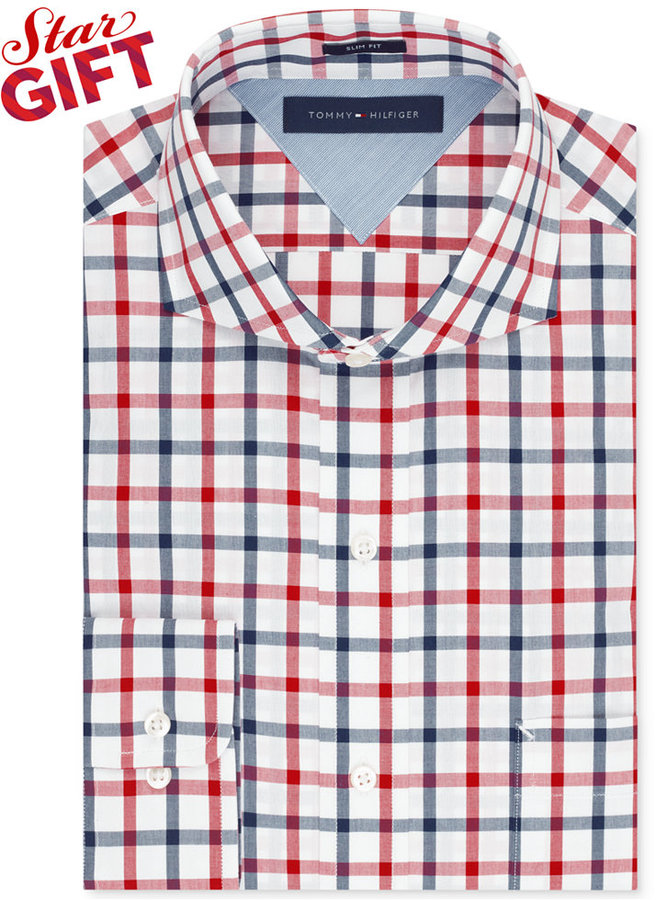 tommy hilfiger slim fit red and blue multi check dress