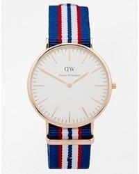 Daniel wellington belfast rose gold striped canvas strap watch blue medium 105078