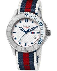 Watch unisex swiss g timeless sport white blue and red stripe nylon strap 44mm ya126239 medium 105088