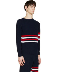 Thom Browne Navy Red Cashmere Striped Sweater | Where to buy & how ...
