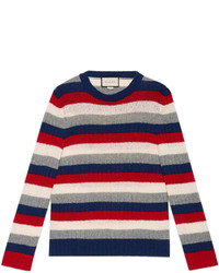Gucci Striped Cashmere Crewneck Sweater