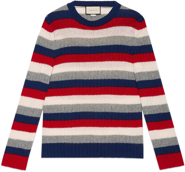gucci striped cashmere crewneck sweater where to buy how to wear