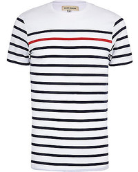 39dac8b123d4 White and Red and Navy Horizontal Striped Crew-neck T-shirts for Men ...