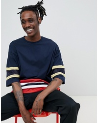 ASOS DESIGN Oversized T Shirt With Half Sleeve And Mesh Panels In Navy