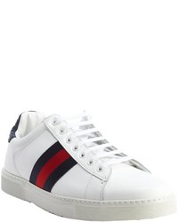 Gucci White And Blue Leather Web Stripe Croc Embossed Sneakers