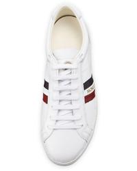 ... Moncler Monaco Striped Leather Low Top Sneaker White 6fc4c63a50b