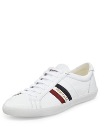 Moncler Monaco Striped Leather Low Top Sneaker White