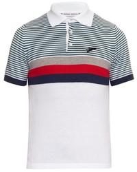 Michl bastian striped fine knit cotton polo shirt medium 274944