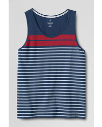 Lands' End Landsend Slim Fit Washed Stripe Tank Top Whitexl