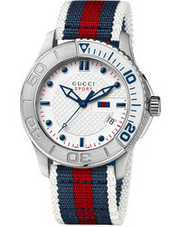 White and Red and Navy Horizontal Striped Watch