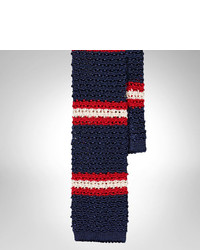 White and Red and Navy Horizontal Striped Wool Tie