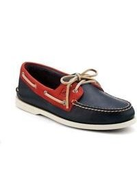 Sperry topsider shoes authentic original 2 eye relaxed leather boat shoe navy red relaxed leather medium 84240