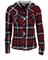 Delia s hooded plaid flannel shirt medium 25393