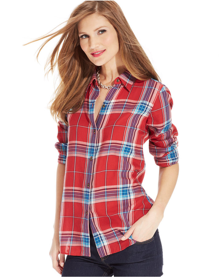 American Living Plaid Button Front Shirt Where To Buy