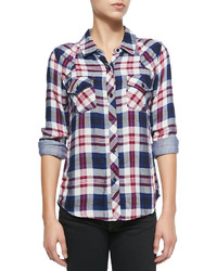 Kendra long sleeve plaid shirt medium 180645