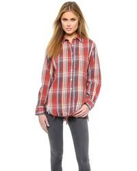 R 13 R13 Shredded Plaid Shirt