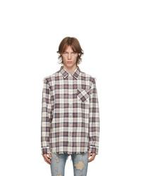 R13 Off White And Purple Shredded Seam Shirt
