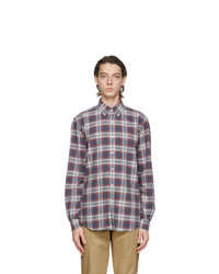 Polo Ralph Lauren Blue And Red Oxford Plaid Shirt