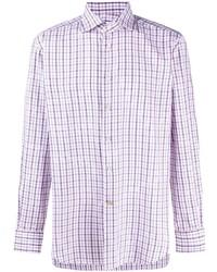 Kiton Check Print Cotton Shirt