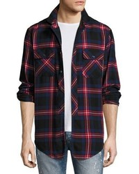 PRPS Flannel Plaid Shirt Rednavywhite