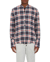 Greg Lauren Cotton Flannel Studio Shirt Navy Red White