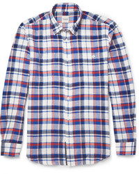 Hardy Amies Button Down Collar Checked Brushed Cotton Shirt