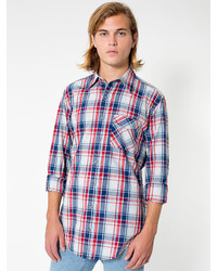 American Apparel Indigo Plaid Cotton Twill Long Sleeve Button Up With Pocket