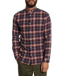 Selected Homme Jaxx Regular Fit Plaid Button Up Organic Cotton Flannel Shirt