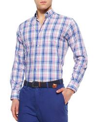 Peter Millar Large Melange Plaid Sport Shirt Navymulti