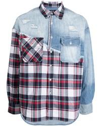 FIVE CM Panelled Long Sleeve Check Shirt