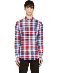 DSQUARED2 Red Blue Seersucker Check Shirt