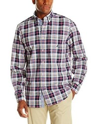 Nautica Red Plaid Long Sleeve Oxford Shirt