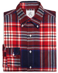 Brooks Brothers Red White And Navy Plaid Button Down Shirt