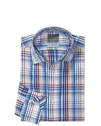 Thomas Dean Cotton Check Sport Shirt Long Sleeve Navywhite