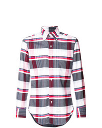Thom Browne Variegated Check Classic Button Down Oxford Shirt