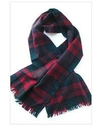 White and Red and Navy Plaid Scarf