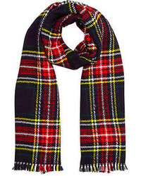 River Island Navy Plaid Reversible Blanket Scarf