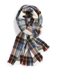 Topshop Plaid Scarf Cream One Size One Size