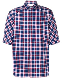 White and Red and Navy Plaid Short Sleeve Shirt