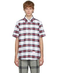 Thom Browne White Red Tartan Check Short Sleeve Shirt