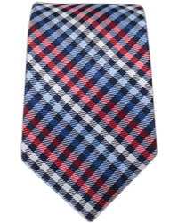 White and Red and Navy Plaid Tie