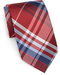 Burma bibas plaid check silk tie medium 246818
