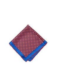 White and Red and Navy Pocket Square