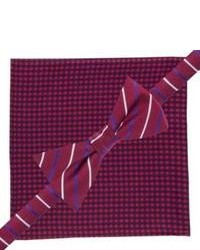 City of London Bow Tie And Pocket Square Set Red Checkstripe