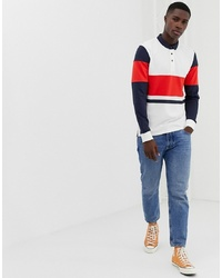ONLY & SONS Long Sleeve Polo Shirt With Colour Block Details